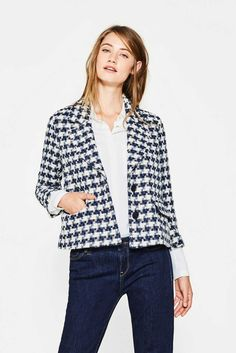 Esprit - Short boxy checked jacket, blended cotton