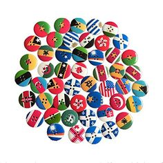Biodawn 50pcs Mixed Country Flag Painting 2 Holes Wooden Buttons for Clothes Crafting Arts >>> Click image for more details.