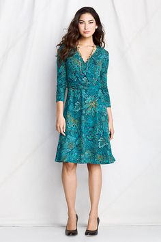 Cotton Modal Banded Wrap Dress from Lands' End