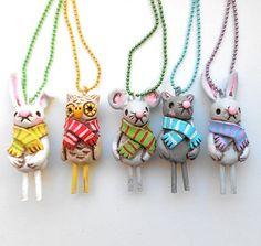Spring Easter Bunny Original Folk Art Necklace