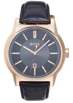 BOSS 'Architecture' Round Leather Strap Watch, 44mm