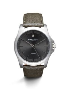 Kenneth Cole Diamond Collection Silvertone Watch with Grey Leather Strap, Men's