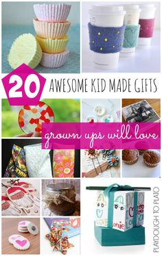 20 Awesome Kid Made Gifts Grown Ups Will Love. Loads of fun homemade gift ideas!