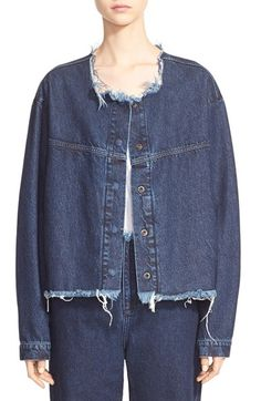 Free shipping and returns on Marques'Almeida Marques'Almeida Collarless Denim Jacket at Nordstrom.com. Portuguese designers Marta Marques and Paulo Almeida put a luxe spin on grungy '90s fashion with this boxy biker jacket left raw and tattered at the collarless neckline and cropped hem. Premium Japanese denim offers a superbly soft touch and durable, long-lasting shape.