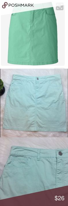 "Croft & Borrow Classic Fit Mint Green Skort Croft & Barrow Classic Fit ice blue/ mint green stretch skort. Size 8. Waist is 16 1/4"". Length is 18.5"". Built in shorts. 98% cotton. 2% spandex. croft & barrow Skirts"