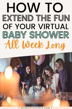 Want to extend your virtual baby shower from just one day to a week long celebration? Here are some awesome ideas to extend the fun of your virtual baby shower celebration! Elegant Baby Shower, Unique Baby Shower, Baby Shower Checklist, Baby Shower Games, Baby Shower Etiquette, Virtual Baby Shower, Baby Online, Long Distance, Baby Shower Decorations
