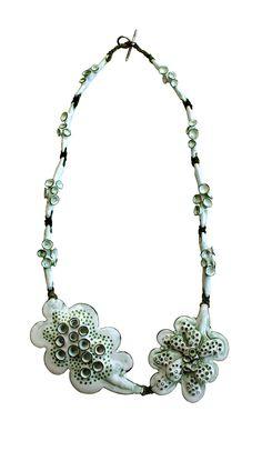 Necklace; Enamelled copper by Dörte Dietrich