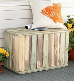 Reclaimed Wood Storage Trunk - Reclaimed wood has been given a new purpose,to store all of your clutter out of sight!