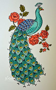 The Stamping Blok: First Colour of Perfect Peacock . Sta mpin' Up! Peacock Painting, Peacock Art, Fabric Painting, Peacock Design, Peacock Embroidery Designs, Embroidery Patterns, Peacock Coloring Pages, Perfect Peacock, Peacock Crafts