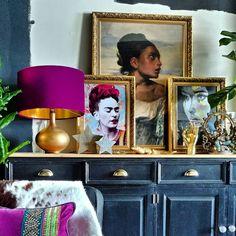Maximalist Interior, Kitchen Dresser, Industrial Interior Design, Exposed Brick Walls, Art Gallery, Gallery Walls, Print Wallpaper, Your Paintings, Interior Design Inspiration