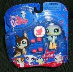 Littlest Pet Shop Pet Pairs Great Dane Dog Puppy & Ostrich #817 & #818 NIB RARE #Hasbro