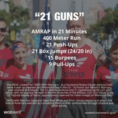 "The ""21 GUNS"" #WOD was created to support Team Red, White & Blue, a non-profit org whose mission is to ""enrich the lives of America's veterans by connecting them to their community through physical and social activity."" For those of you in the US, a reminder: #VeteransDay is November 11."