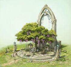 The elven altar of sacred tree. by su jeong Ahn Fantasy City, Fantasy Places, Fantasy Kunst, Fantasy World, Fantasy Trees, Fantasy Art Landscapes, Fantasy Landscape, Landscape Art, Fantasy Concept Art