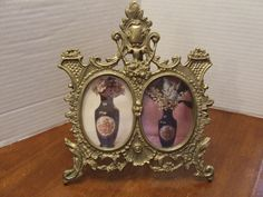 Vintage Large Brass Victorian Frame, Brass Double picture Frame, Ornate Oval…