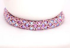 Beaded Netted Bracelet / Beaded Swarovski Bracelet / by Ranitit