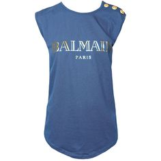 BALMAIN Logo Tee Gold Buttons Blue ($175) ❤ liked on Polyvore featuring tops, t-shirts, sleeveless tops, balmain, blue tee, cotton t shirt and blue top