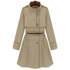 Pleats Stand Collar Trench Coat  #coat #fashion