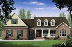 This Country House Plan includes  3 bedrooms / 2.5 baths in 2401 sq ft of living space.  Its open floorplan layout is flexible and is ideal for your growing family.  Best of all, its designed to be affordable to build and includes all of the most popular features you're looking for in your next home design.    #houseplan #dreamhome #HPG-2401 #HousePlanGallery #houseplans #homeplans Porch House Plans, Small House Floor Plans, House With Porch, Best House Plans, Building A Porch, Building A New Home, European Style Homes, French Country House Plans, Small Porches