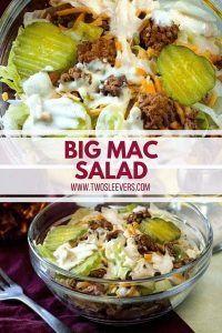 If you're keto and are missing Big Macs, here's a perfect Big Mac Salad and Big Mac Sauce recipe for you. Hamburger Salad Recipe, Low Carb Hamburger Recipes, Salad Recipes Low Carb, Beef Recipes, Cooking Recipes, Healthy Recipes, Cooking Games, Healthy Salads, Fish Recipes