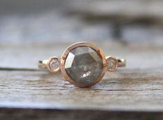 3 Stone Rose Cut Translucent Gray Diamond Ring in 14K Rose Gold on Etsy, $1,756.91 CAD