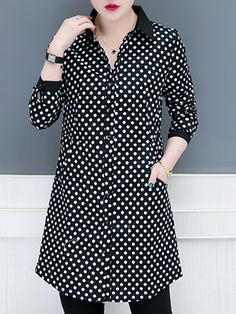 Lapel Patchwork Brief Polka Dot Long Sleeve Blouse the best Online Clothing Shopping Boutiques, get the latest fashion clothing online # Shirtdress Outfit, Blouse Outfit, Kurta Designs, Blouse Designs, Trendy Plus Size Clothing, Plus Size Outfits, Dress Shirts For Women, Clothes For Women, Cheap Clothes