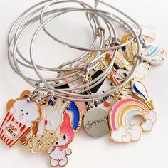 Bangle Bracelets With Charms, Bangles, Custom Charms, Colorful Bracelets, Handmade Accessories, Charmed, Jewelry, Bracelets, Jewlery