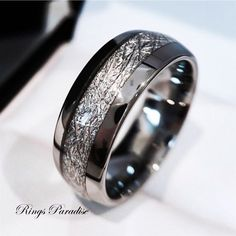 Meteorite Ring,Tungsten Wedding Bands, Meteorite Wedding Bands, Engagement Gifts, His and Her Engagement Rings, Mens Womens Promise Rings 8mm Personalized Imitation Meteorite Inlay Tungsten Wedding Band for Men, Women and Couples alike. 6mm ring sizes are available: 4,5- 11,5 1/2 sizes
