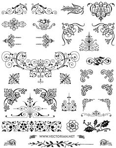 All free download 85 Free vintage ornaments vector pack. Includes swashes, decorative corners, typographic ornaments, fleurons, vignettes, text dividers, brass rules, floral decorations Vectorized by hand from genuine type foundry catalogs from the Victorian era.. More Free Vector Graphics, www.123freevectors.com