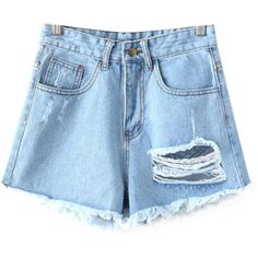 Chicnova Fashion Frayed Ripped Denim Shorts ($16) ❤ liked on Polyvore featuring shorts, destroyed jean shorts, high-waisted shorts, destroyed denim shorts, high-rise shorts and high rise shorts