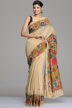 Beige Chanderi Saree With A Floral Vine Kalamkari & Gold Zari Border And A Multi-Colour Kalamkari Pallu With Twin Peacock Motifs
