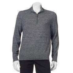 Big & Tall Apt. 9® Modern-Fit Merino Wool-Blend Quarter-Zip Sweater, Men's, Size: Xl Tall, Med Grey
