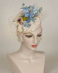 Whimsy, ballet peach with blues, vintage floral whimsy on a Paglina base on headband