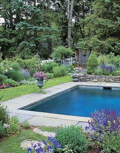 Love that this pool is surrounded by a green garden.
