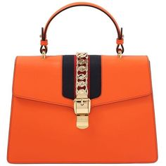 Gucci Women Medium Sylvie Leather Top Handle Bag ($2,660) ❤ liked on Polyvore featuring bags, handbags, orange, orange handbags, chain handle handbags, clasp handbag, clasp purse and top handle leather handbags