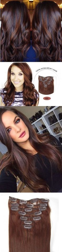 """14"""" Remy Human Hair Clip in Extensions for Women Dark Brown(#2) 6Pieces 70grams/2.45oz"""