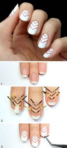 14. White Minimal Chevron Nail Art For Beginners