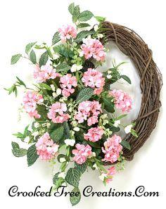 Coral Pink Geranium Grapevine Wreath