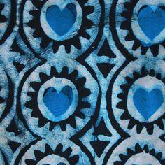 Blue Hearts African Wax Batik