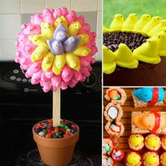 Peeps topiary--styrofoam ball, a wide popsicle stick, and and toothpicks. Peeps sushi for teens.