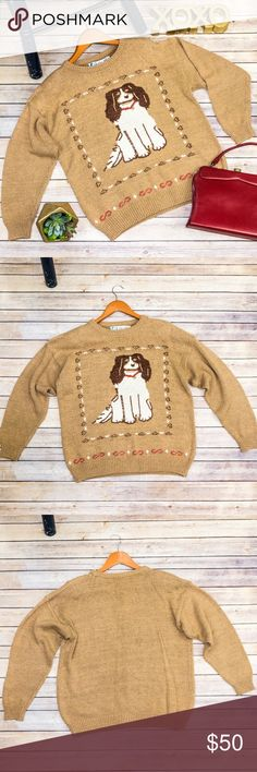 """80s Cocker Spaniel Sweater Adorable vintage sweater. In good condition, but there is a small, blue stain on one of his feet. Brand is Chaus. The color is golden-camel. Sweater has shoulder pads. Size is large. Bust 23""""; Length is 25""""; Sleeves are 28"""" from collar to cuff. Make an offer. Vintage Sweaters"""