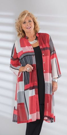 Plus size Kasbah red/black/cream voile block Nehru coat Mature Fashion, Over 50 Womens Fashion, Fashion Over 50, Curvy Fashion, Plus Size Fashion, Cool Outfits, Casual Outfits, Casual Wear, Plus Size Outfits