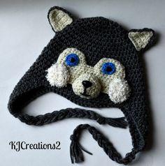 Crochet Husky ear flap hat-MADE TO ORDER-newborn to by kjcreations2, $25.00