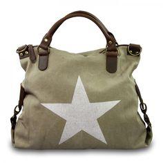 mynewbag.de - #IO.IO.MIO. Ital. Damentasche Leder Canvas Mix großer #Shopper #Stern beige weiß