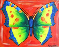 Summer Butterfly - Painting with a Twist (on a miniature square canvas)