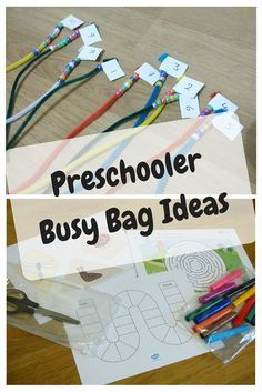 Busy Bag Ideas for 4 Year Olds using DIY ideas and printables.