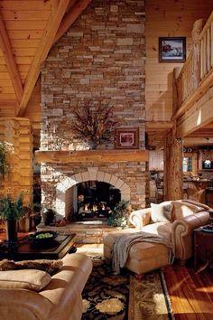 Rustic Living Room with Loft, Omnia Furniture Sedona Leather Sleeper Sofa, Columns, Hardwood floors, stone fireplace