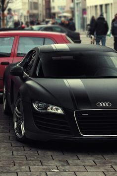 Matte Black Audi R8... Mmmm! :) I really love Audi's. German engineering tho.