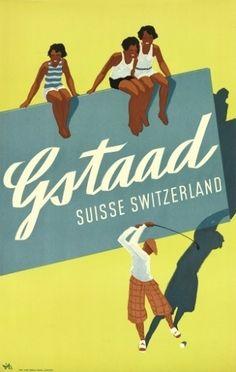 Cartaz de Gstaad, vilarejo no sudoeste da Suíca, feito por Alex W. Diggelmann em 1933. O trabalho deve ser vendido por até 2 mil dólares no leilão (R$ 4,3 mil)