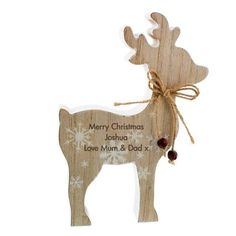 Personalised wooden reindeer Christmas decoration