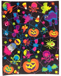 "Vintage Lisa Frank Halloween Skulls Pumpkins 6x4 5"" Sticker Sheet S129 02 